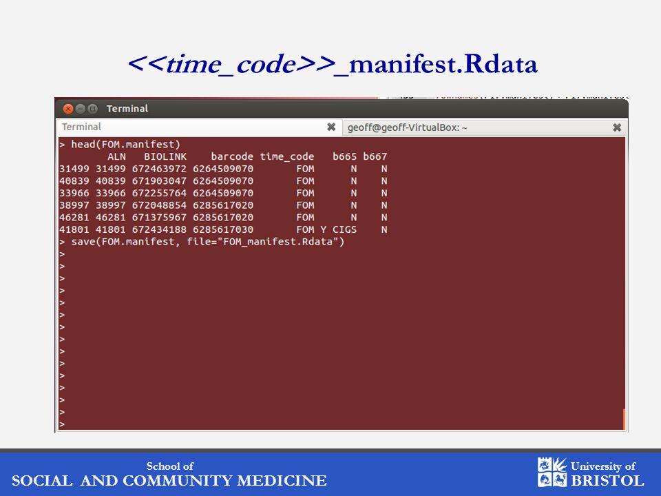 School of SOCIAL AND COMMUNITY MEDICINE University of BRISTOL >_manifest.Rdata