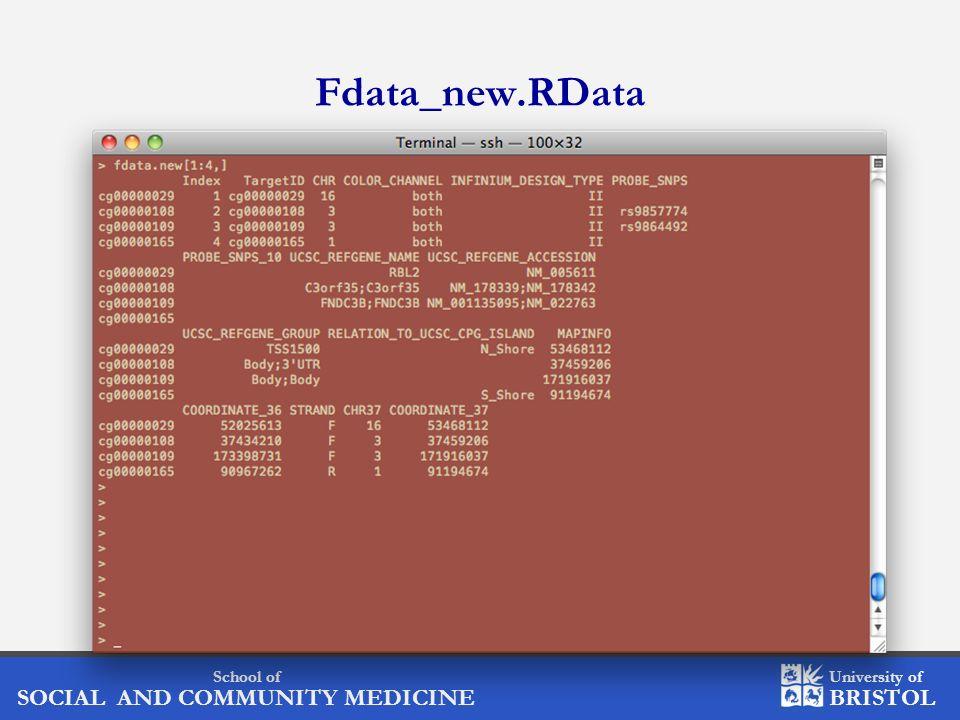 School of SOCIAL AND COMMUNITY MEDICINE University of BRISTOL Fdata_new.RData