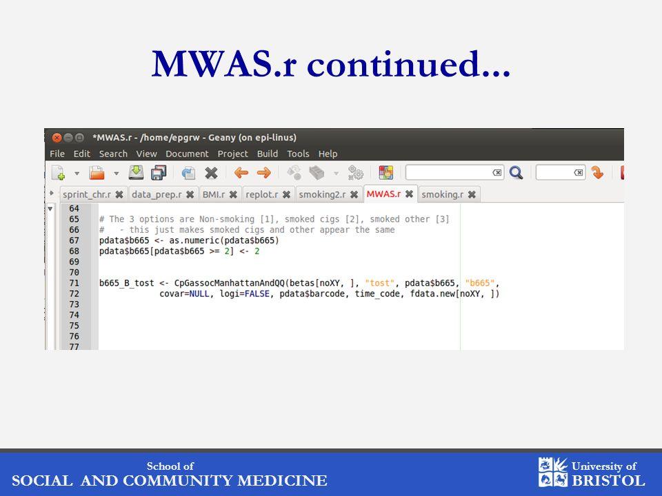 School of SOCIAL AND COMMUNITY MEDICINE University of BRISTOL MWAS.r continued...