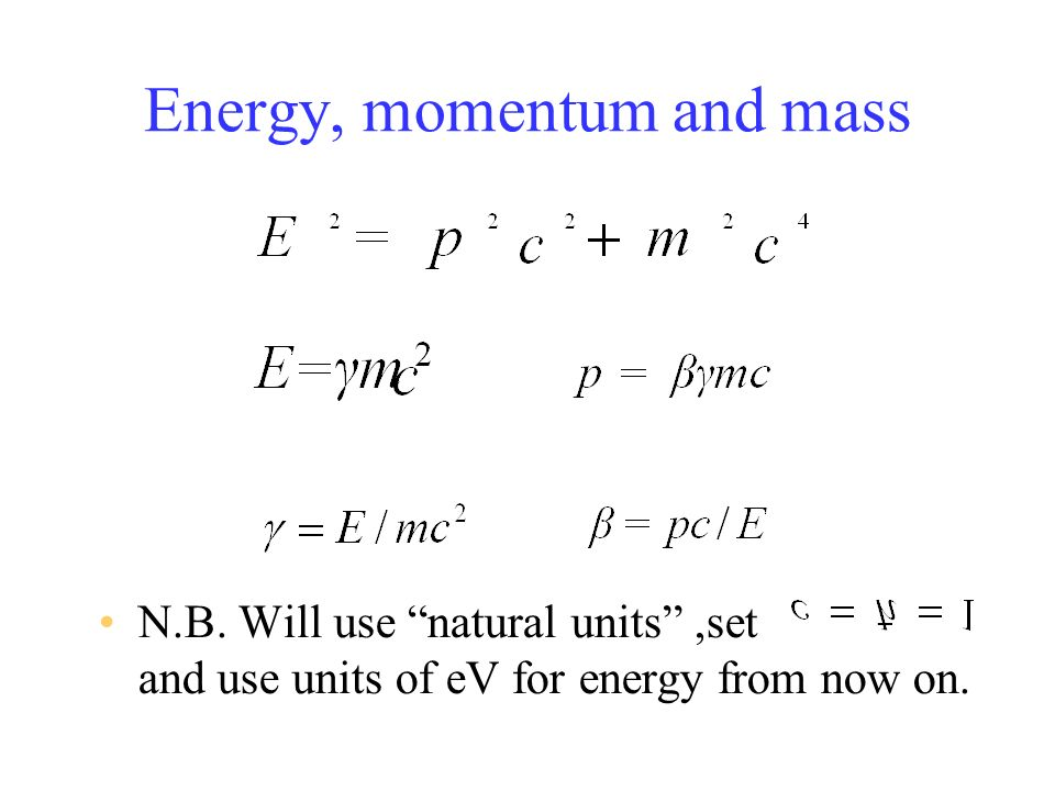 Energy, momentum and mass N.B.