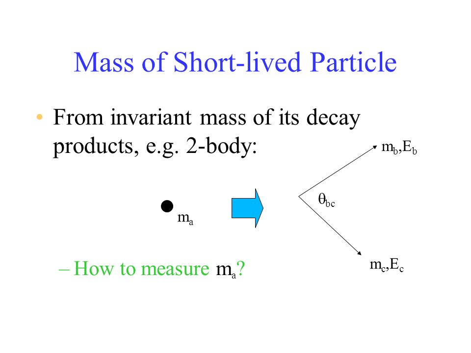 Mass of Short-lived Particle From invariant mass of its decay products, e.g.