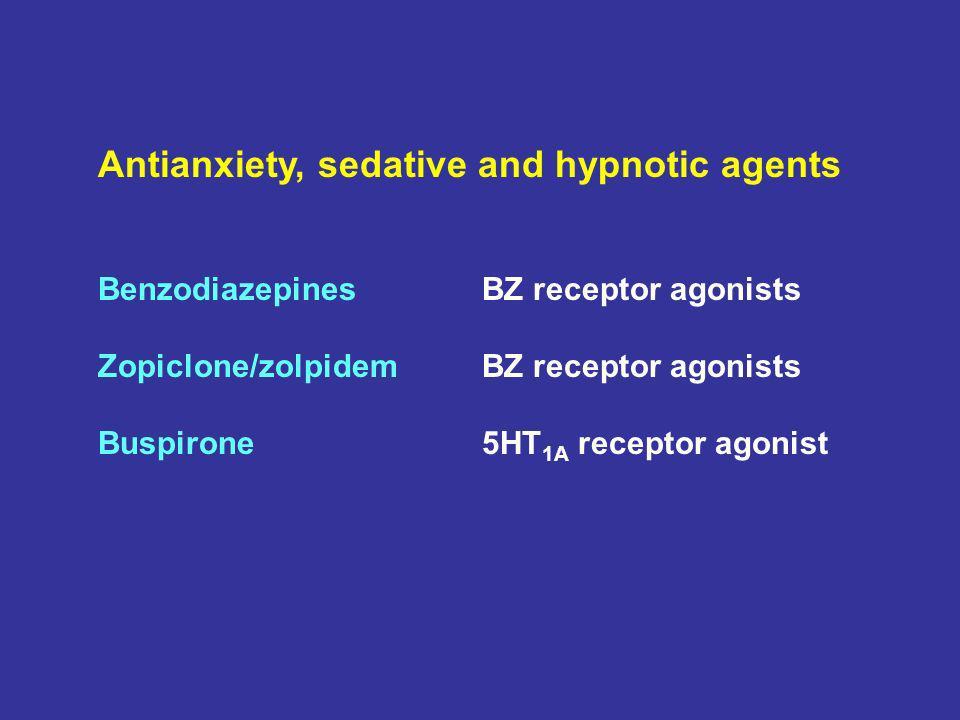 Antianxiety, sedative and hypnotic agents BenzodiazepinesBZ receptor agonists Zopiclone/zolpidemBZ receptor agonists Buspirone5HT 1A receptor agonist