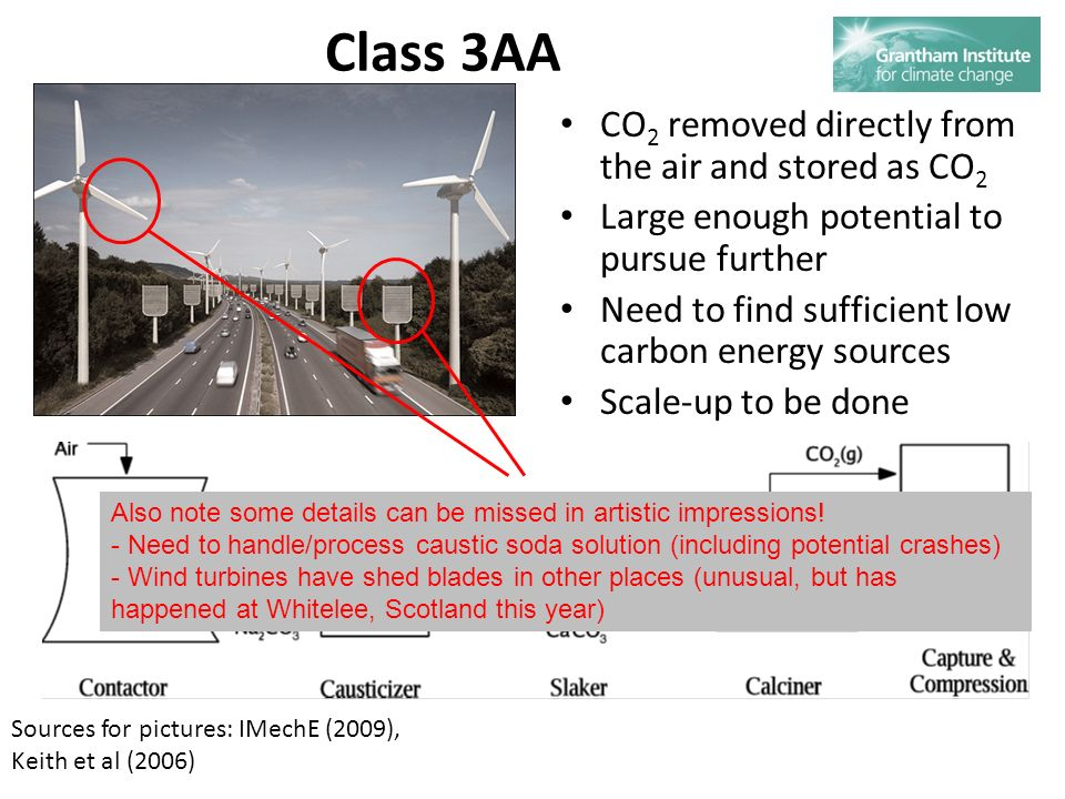 Class 3AA CO 2 removed directly from the air and stored as CO 2 Large enough potential to pursue further Need to find sufficient low carbon energy sources Scale-up to be done Sources for pictures: IMechE (2009), Keith et al (2006) Also note some details can be missed in artistic impressions.