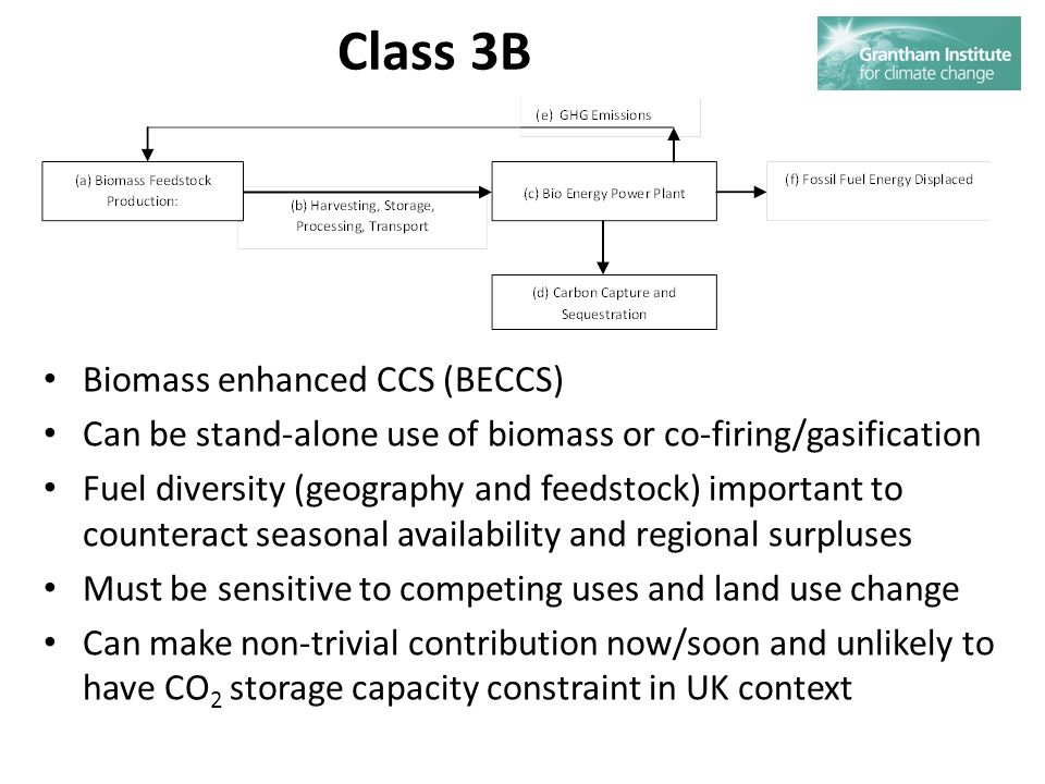 Class 3B Biomass enhanced CCS (BECCS) Can be stand-alone use of biomass or co-firing/gasification Fuel diversity (geography and feedstock) important to counteract seasonal availability and regional surpluses Must be sensitive to competing uses and land use change Can make non-trivial contribution now/soon and unlikely to have CO 2 storage capacity constraint in UK context