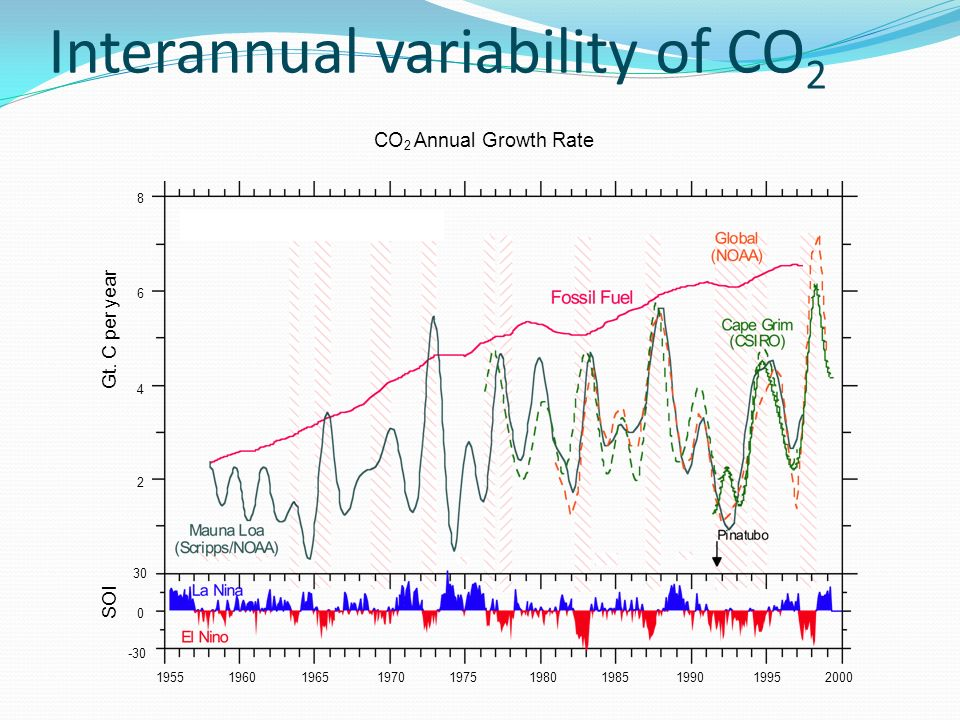 Interannual variability of CO 2 Gt.