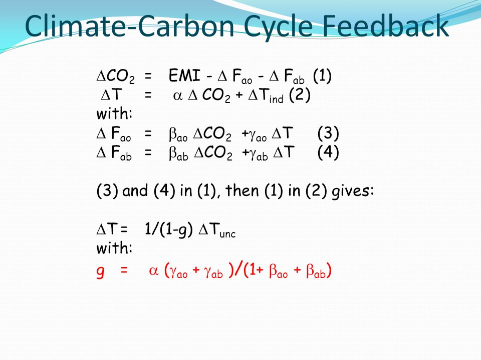 Climate-Carbon Cycle Feedback CO 2 =EMI - F ao - F ab (1) T= CO 2 + T ind (2) with: F ao = ao CO 2 + ao T (3) F ab = ab CO 2 + ab T (4) (3) and (4) in