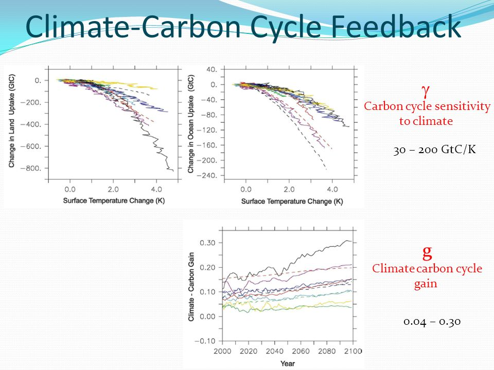 Climate-Carbon Cycle Feedback Carbon cycle sensitivity to climate g Climate carbon cycle gain 0.04 – 0.30 30 – 200 GtC/K