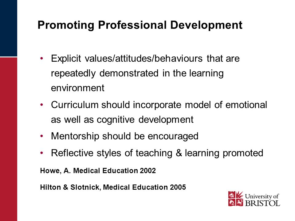 Promoting Professional Development Explicit values/attitudes/behaviours that are repeatedly demonstrated in the learning environment Curriculum should incorporate model of emotional as well as cognitive development Mentorship should be encouraged Reflective styles of teaching & learning promoted Howe, A.