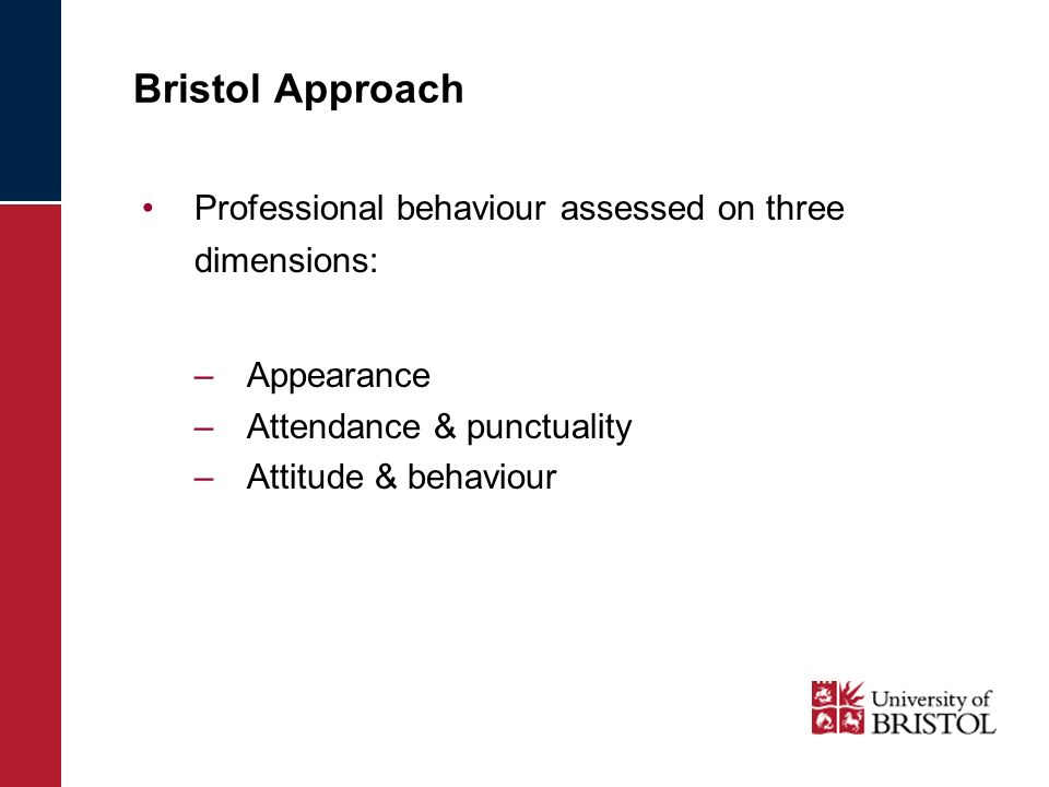 Bristol Approach Professional behaviour assessed on three dimensions: –Appearance –Attendance & punctuality –Attitude & behaviour
