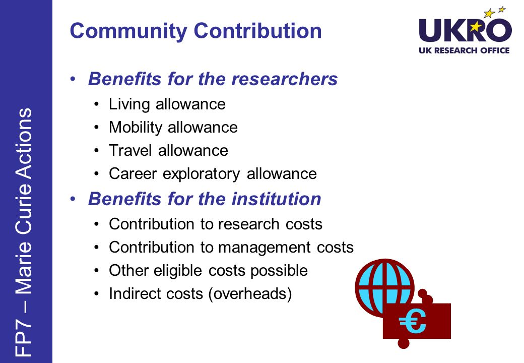 Community Contribution Benefits for the researchers Living allowance Mobility allowance Travel allowance Career exploratory allowance Benefits for the