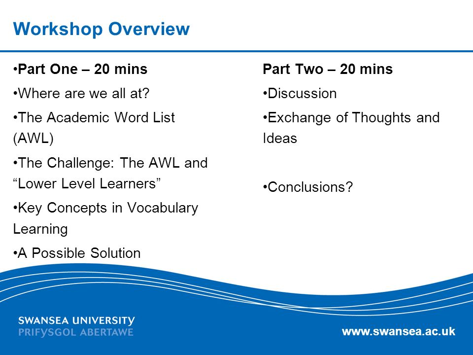 www.swansea.ac.uk Workshop Overview Part One – 20 mins Where are we all at.