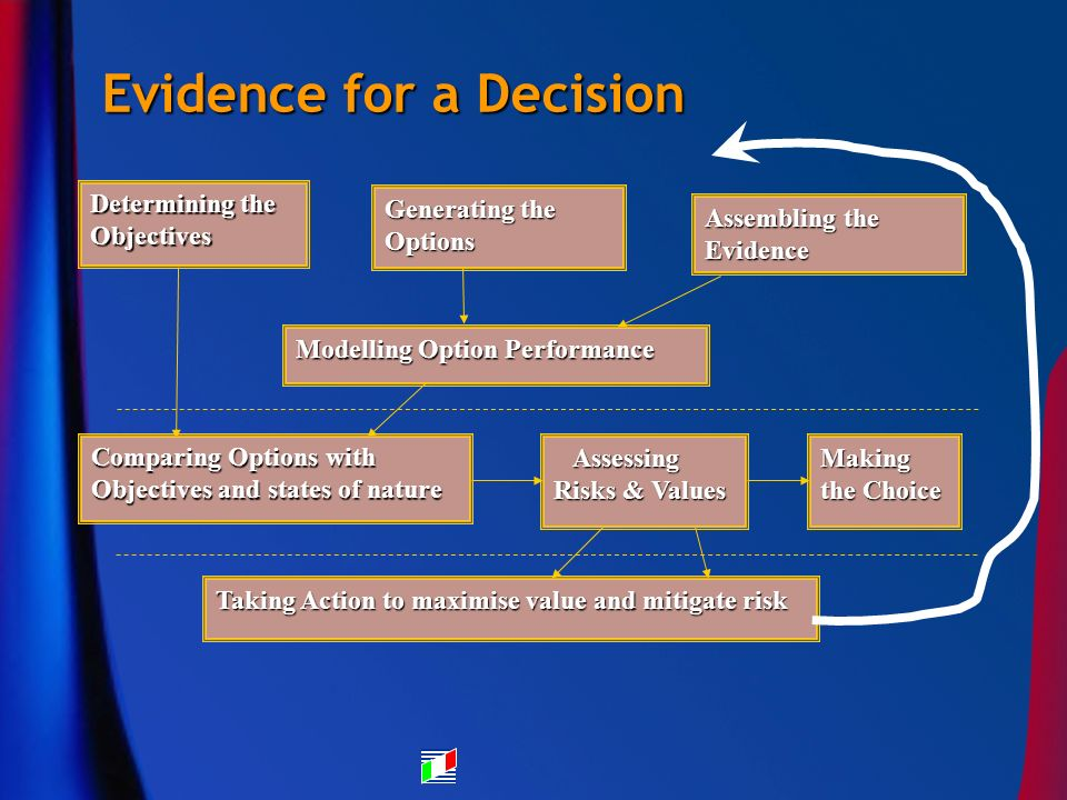 Evidence for a Decision Generating the Options Assembling the Evidence Making the Choice Determining the Objectives Modelling Option Performance Comparing Options with Objectives and states of nature Taking Action to maximise value and mitigate risk Assessing Risks & Values Assessing Risks & Values