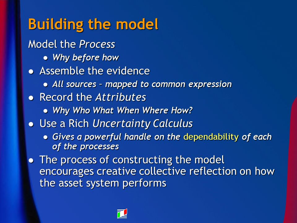 Building the model Model the Process Why before how Why before how Assemble the evidence Assemble the evidence All sources – mapped to common expression All sources – mapped to common expression Record the Attributes Record the Attributes Why Who What When Where How.