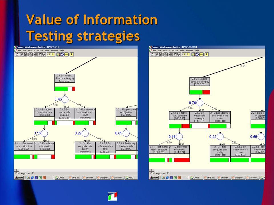 Value of Information Testing strategies