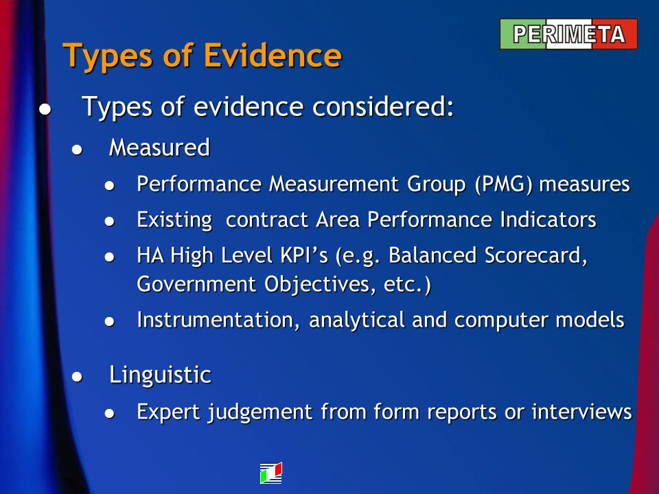 Types of Evidence Types of evidence considered: Types of evidence considered: Measured Measured Performance Measurement Group (PMG) measures Performance Measurement Group (PMG) measures Existing contract Area Performance Indicators Existing contract Area Performance Indicators HA High Level KPIs (e.g.