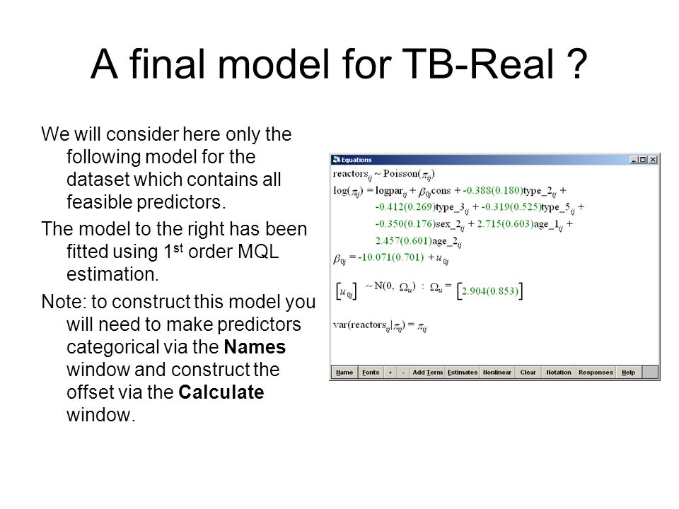 A final model for TB-Real ? We will consider here only the following model for the dataset which contains all feasible predictors. The model to the ri