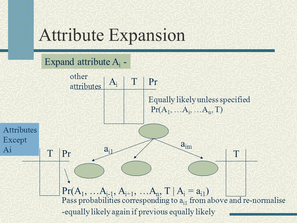 Attribute Expansion AiAi T Expand attribute A i - a i1 a im T T Pr Equally likely unless specified Pr(A 1, …A i, …A n, T) Attributes Except Ai Pr(A 1, …A i-1, A i+1, …A n, T | A i = a i1 ) other attributes Pass probabilities corresponding to a i1 from above and re-normalise -equally likely again if previous equally likely