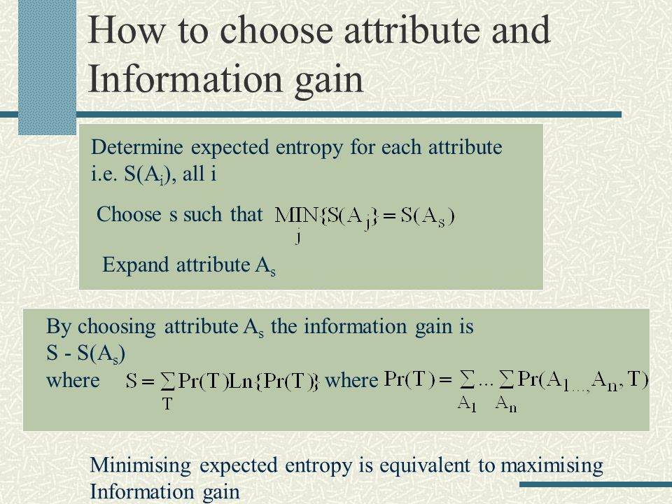How to choose attribute and Information gain Determine expected entropy for each attribute i.e.