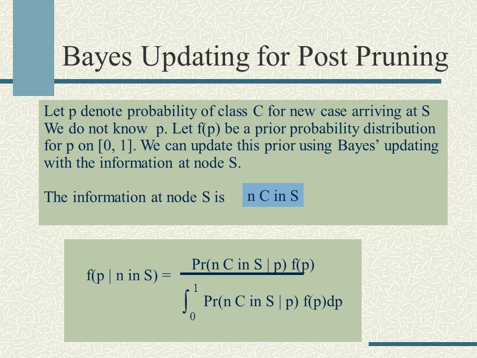 Bayes Updating for Post Pruning Let p denote probability of class C for new case arriving at S We do not know p.