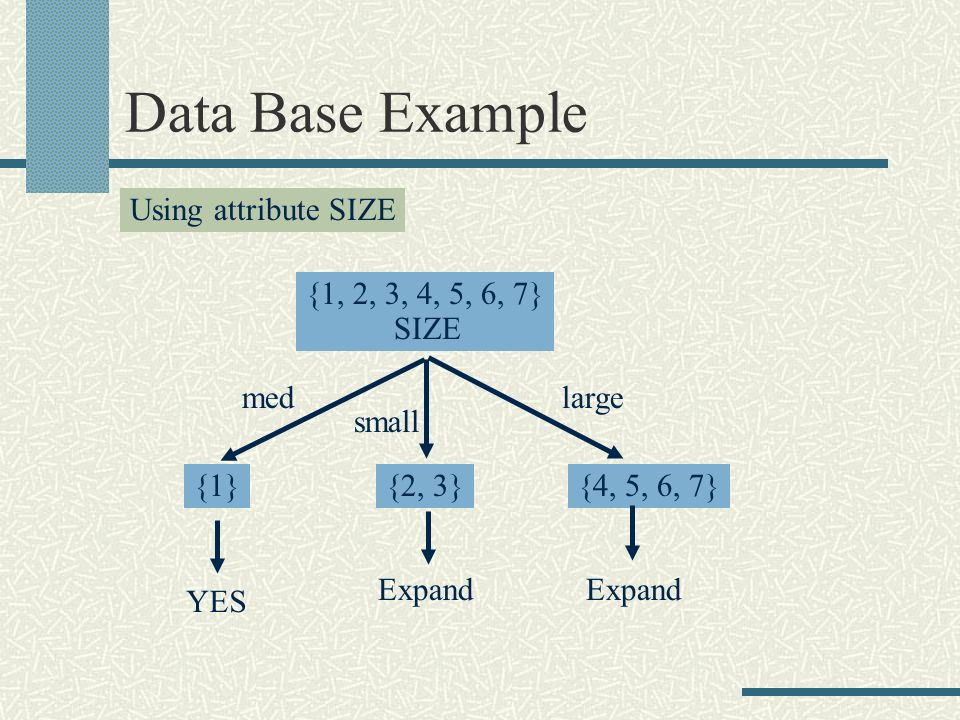 Data Base Example Using attribute SIZE {1, 2, 3, 4, 5, 6, 7} SIZE med small large {1}{2, 3}{4, 5, 6, 7} YES Expand