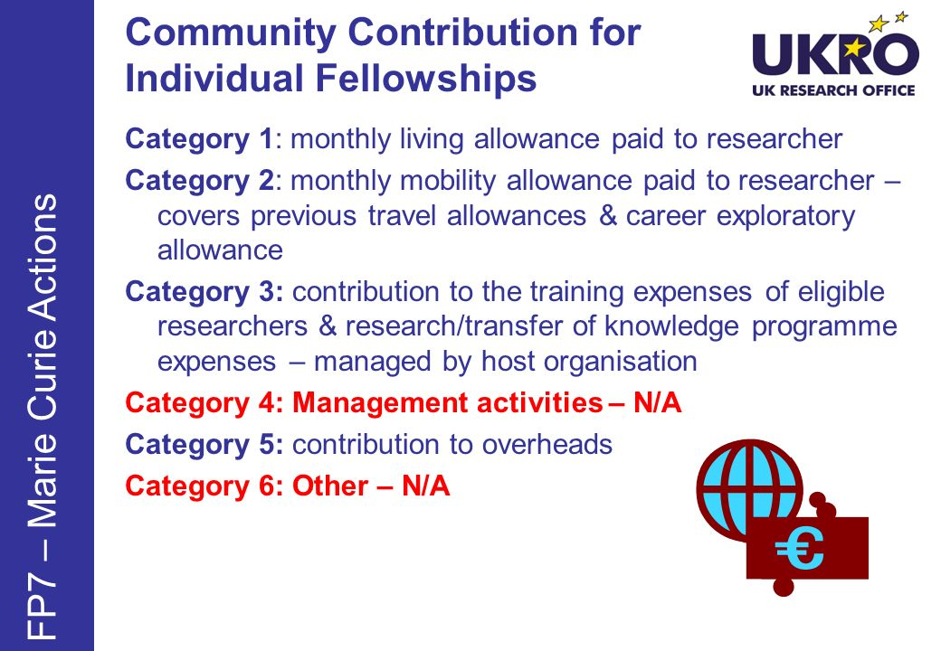 Community Contribution for Individual Fellowships Category 1: monthly living allowance paid to researcher Category 2: monthly mobility allowance paid to researcher – covers previous travel allowances & career exploratory allowance Category 3: contribution to the training expenses of eligible researchers & research/transfer of knowledge programme expenses – managed by host organisation Category 4: Management activities – N/A Category 5: contribution to overheads Category 6: Other – N/A FP7 – Marie Curie Actions