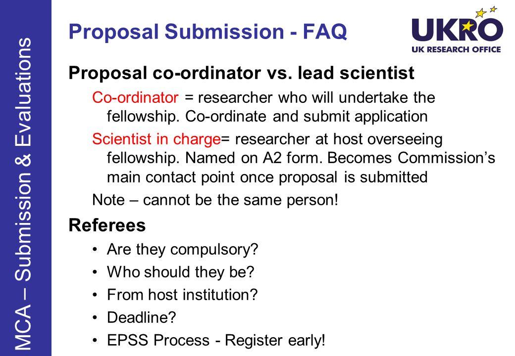 Proposal Submission - FAQ Proposal co-ordinator vs.