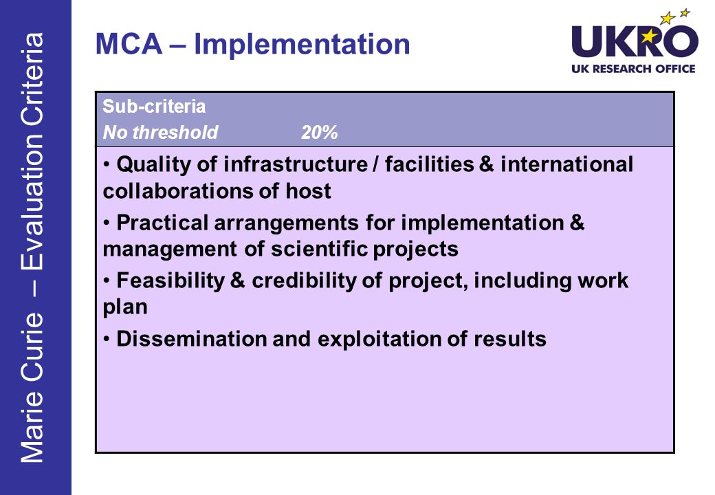 MCA – Implementation Sub-criteria No threshold20% Quality of infrastructure / facilities & international collaborations of host Practical arrangements for implementation & management of scientific projects Feasibility & credibility of project, including work plan Dissemination and exploitation of results Marie Curie – Evaluation Criteria