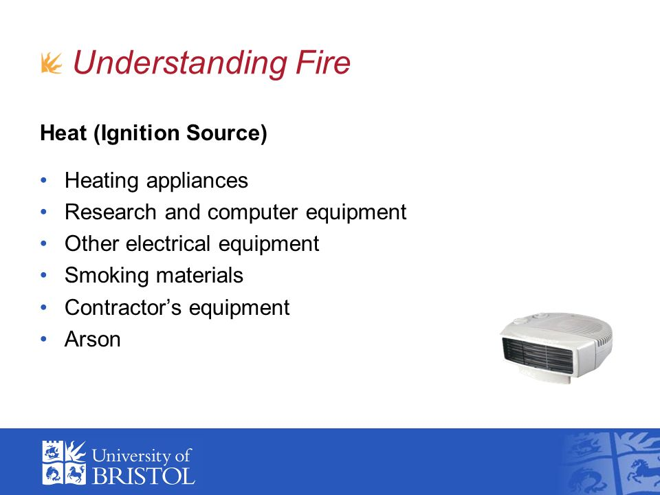 Heat (Ignition Source) Heating appliances Research and computer equipment Other electrical equipment Smoking materials Contractors equipment Arson Understanding Fire