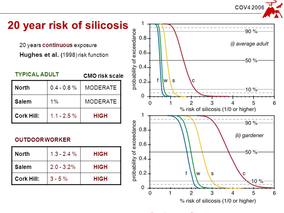 COV4 2006 20 year risk of silicosis 20 years continuous exposure Hughes et al. (1998) risk function TYPICAL ADULT OUTDOOR WORKER North0.4 - 0.8 %MODER