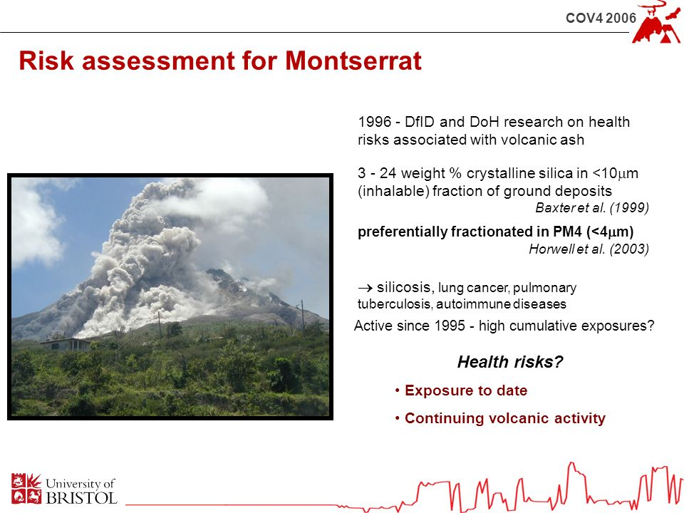 COV4 2006 Risk assessment for Montserrat Active since 1995 - high cumulative exposures? 1996 - DfID and DoH research on health risks associated with v