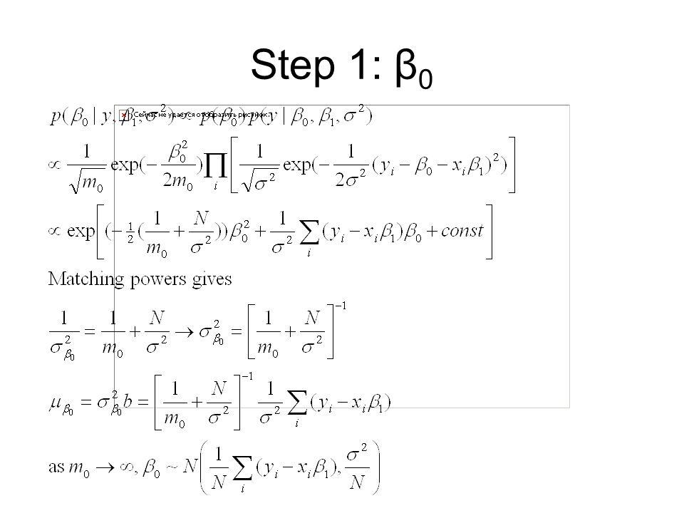 Step 1: β 0