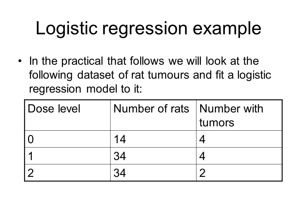 Logistic regression example In the practical that follows we will look at the following dataset of rat tumours and fit a logistic regression model to it: Dose levelNumber of ratsNumber with tumors 0144 1344 2 2