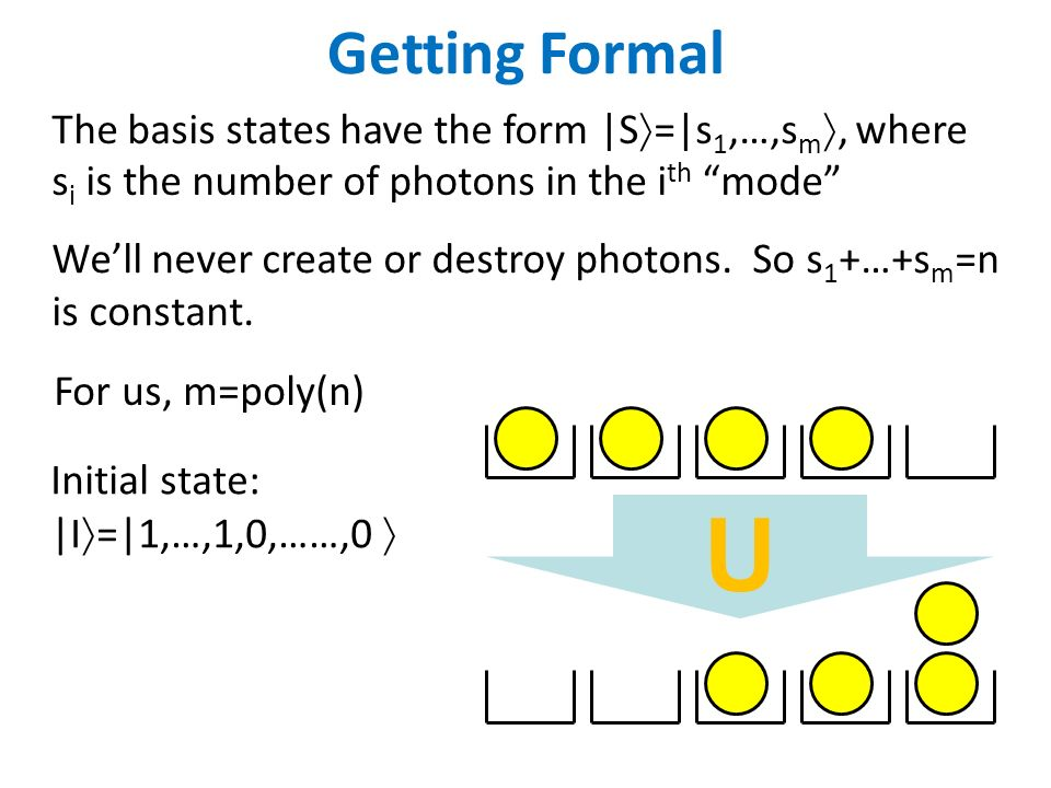 Getting Formal The basis states have the form |S =|s 1,…,s m, where s i is the number of photons in the i th mode Well never create or destroy photons.