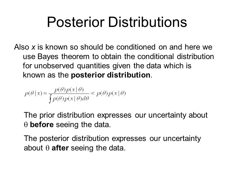 Posterior Distributions Also x is known so should be conditioned on and here we use Bayes theorem to obtain the conditional distribution for unobserved quantities given the data which is known as the posterior distribution.