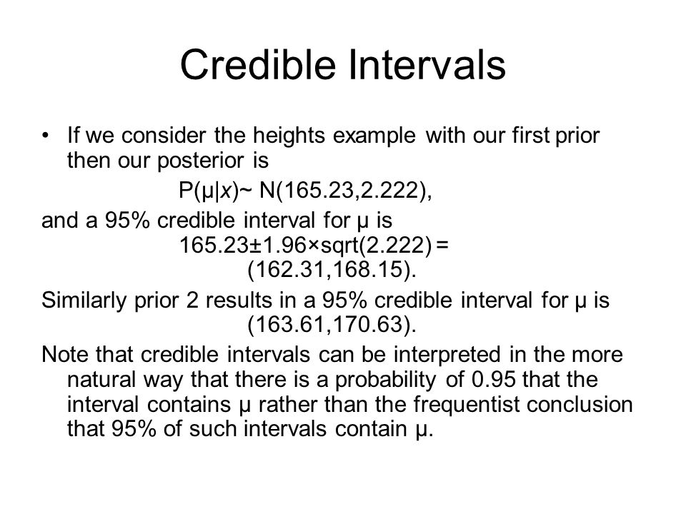 Credible Intervals If we consider the heights example with our first prior then our posterior is P(μ|x)~ N(165.23,2.222), and a 95% credible interval for μ is 165.23±1.96×sqrt(2.222) = (162.31,168.15).