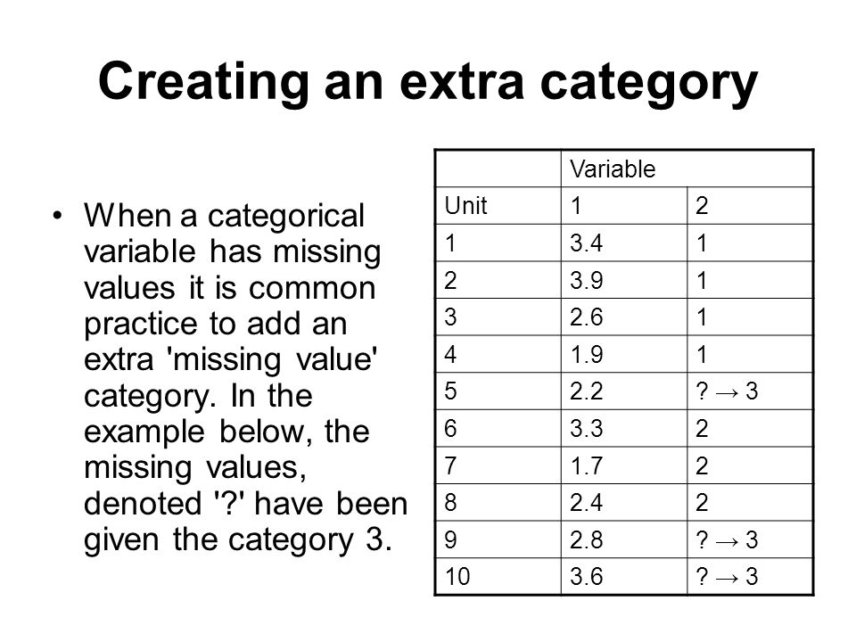 Creating an extra category When a categorical variable has missing values it is common practice to add an extra 'missing value' category. In the examp