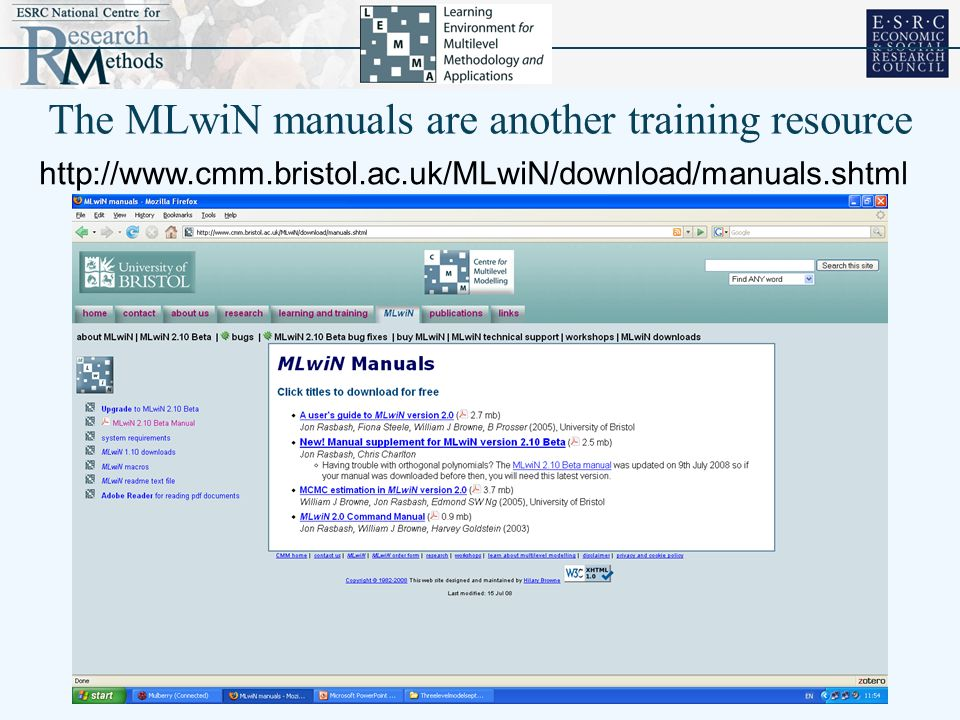 The MLwiN manuals are another training resource http://www.cmm.bristol.ac.uk/MLwiN/download/manuals.shtml