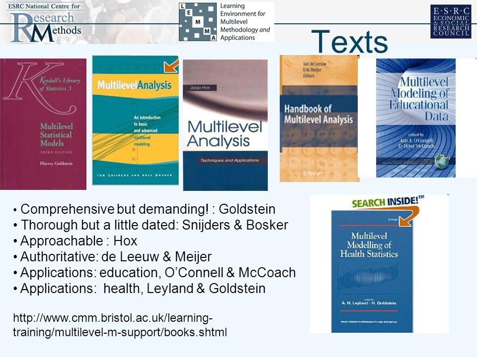 Texts Comprehensive but demanding! : Goldstein Thorough but a little dated: Snijders & Bosker Approachable : Hox Authoritative: de Leeuw & Meijer Appl