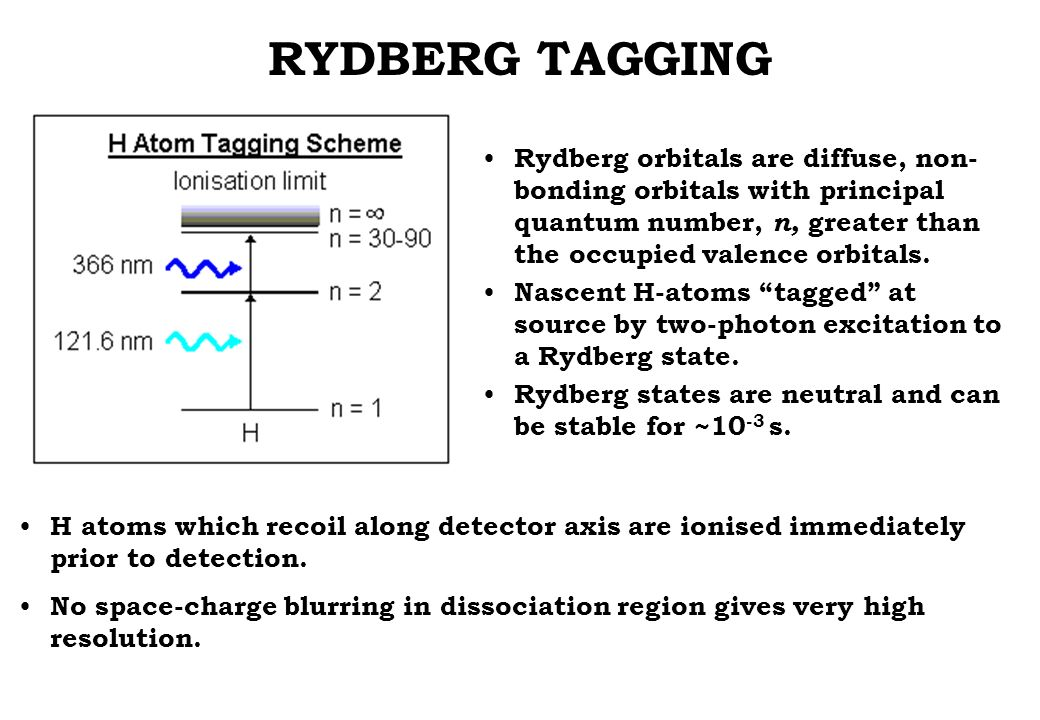 RYDBERG TAGGING Rydberg orbitals are diffuse, non- bonding orbitals with principal quantum number, n, greater than the occupied valence orbitals.