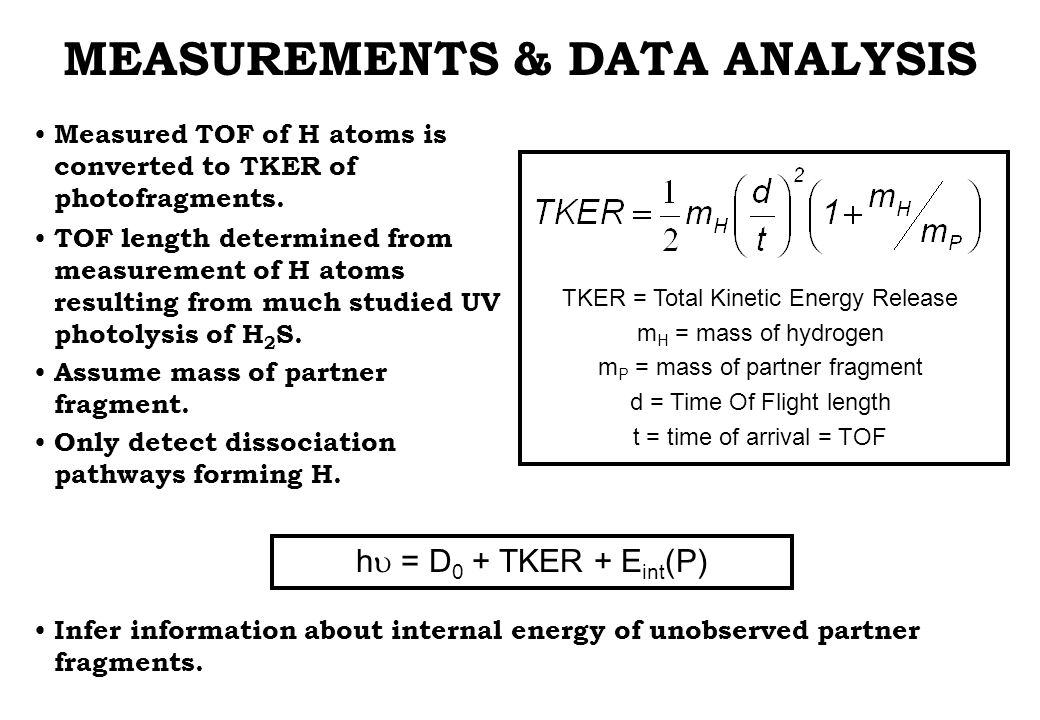 TKER = Total Kinetic Energy Release m H = mass of hydrogen m P = mass of partner fragment d = Time Of Flight length t = time of arrival = TOF MEASUREMENTS & DATA ANALYSIS Measured TOF of H atoms is converted to TKER of photofragments.