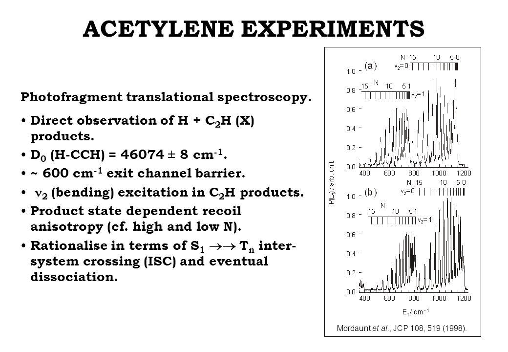 ACETYLENE EXPERIMENTS Mordaunt et al., JCP 108, 519 (1998). Photofragment translational spectroscopy. Direct observation of H + C 2 H (X) products. D