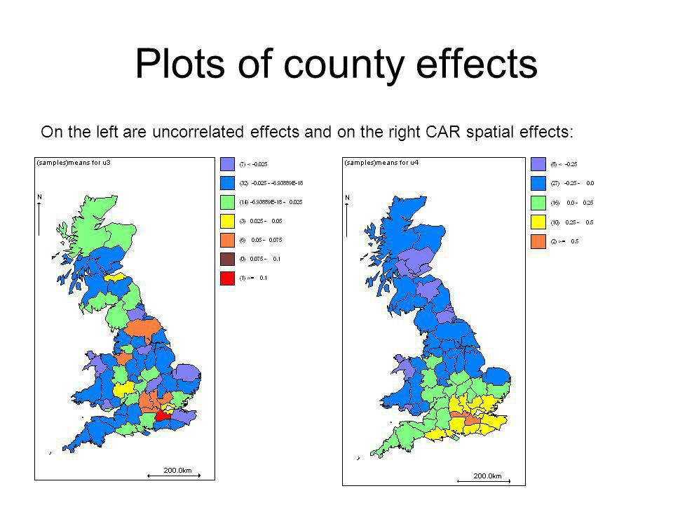 Plots of county effects On the left are uncorrelated effects and on the right CAR spatial effects: