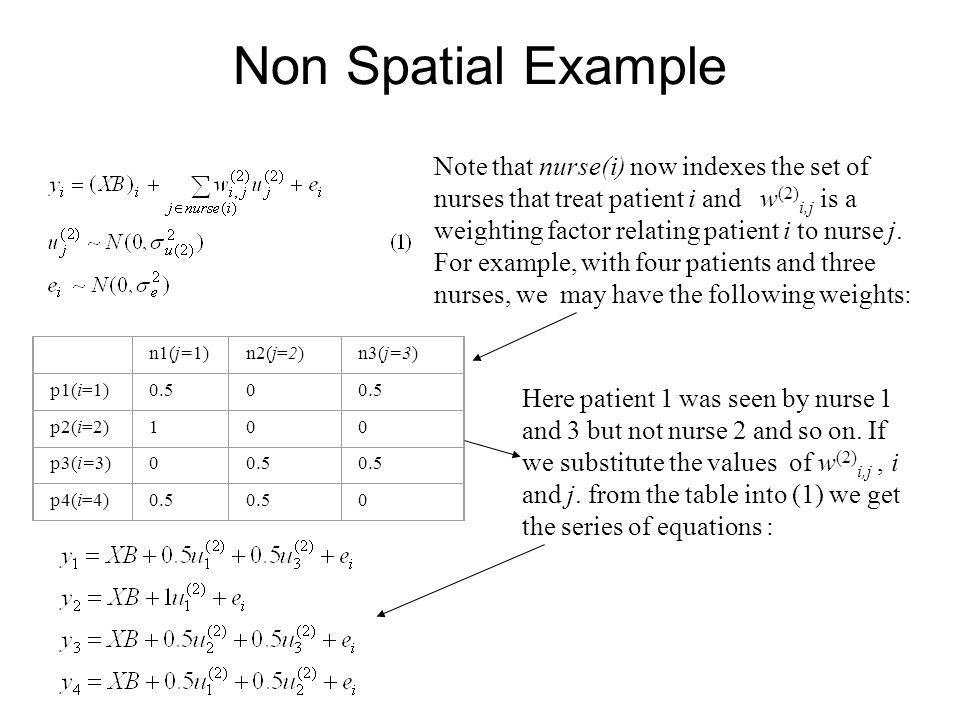 Non Spatial Example Note that nurse(i) now indexes the set of nurses that treat patient i and w (2) i,j is a weighting factor relating patient i to nu