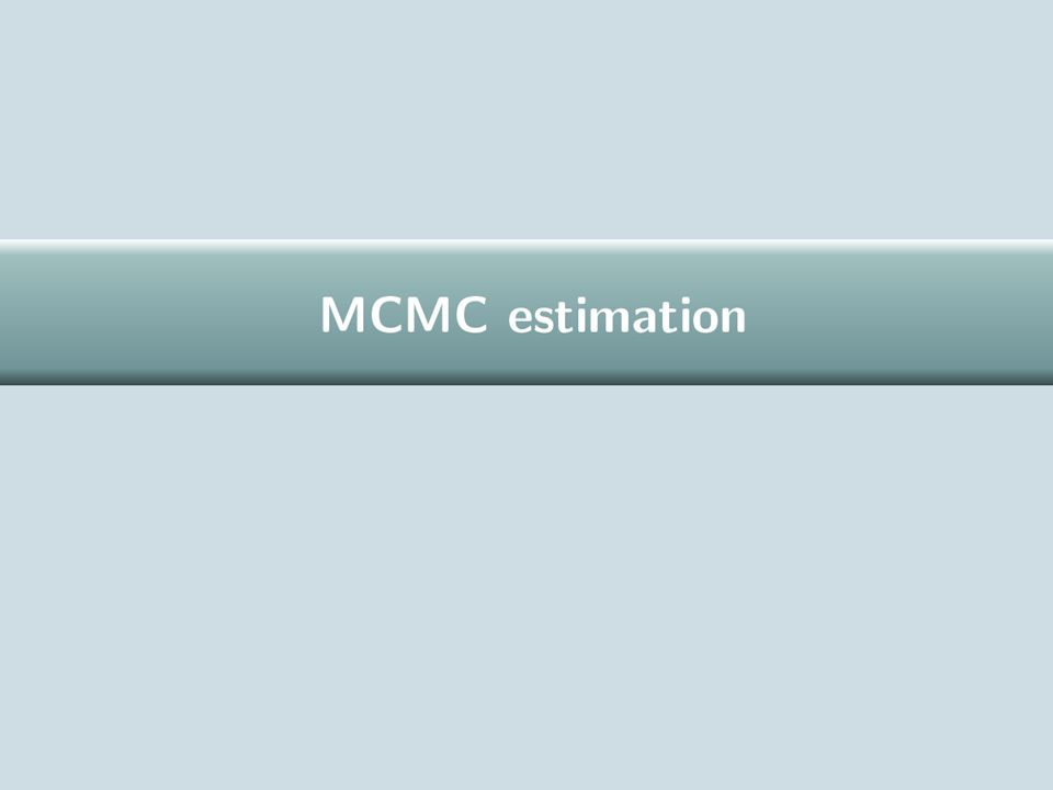 MCMC estimation in MlwiN MCMC estimation is a big topic and is given a pragmatic and cursory treatment here.