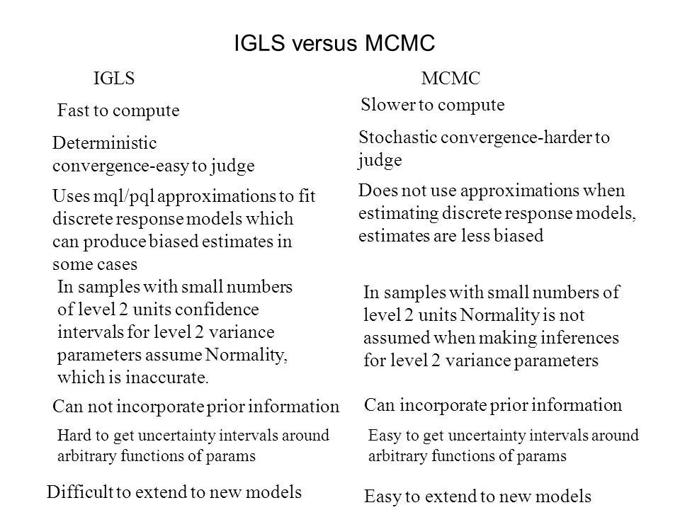 Bayesian framework MCMC estimation operates in a Bayesian framework.