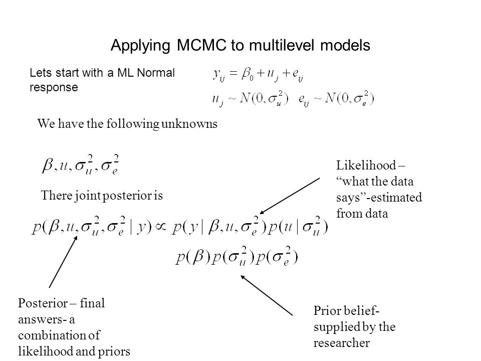 Applying MCMC to multilevel models We have the following unknowns There joint posterior is Likelihood – what the data says-estimated from data Prior b