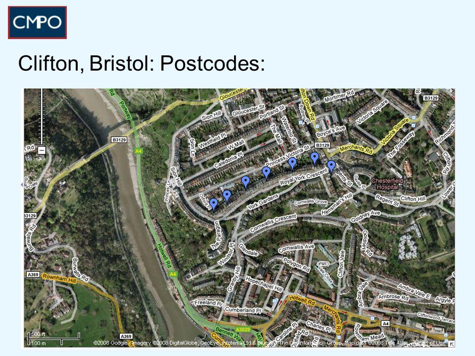 Clifton, Bristol: Postcodes: