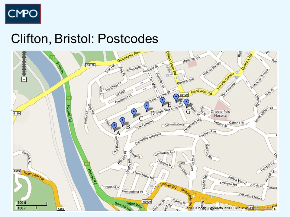 Clifton, Bristol: Postcodes