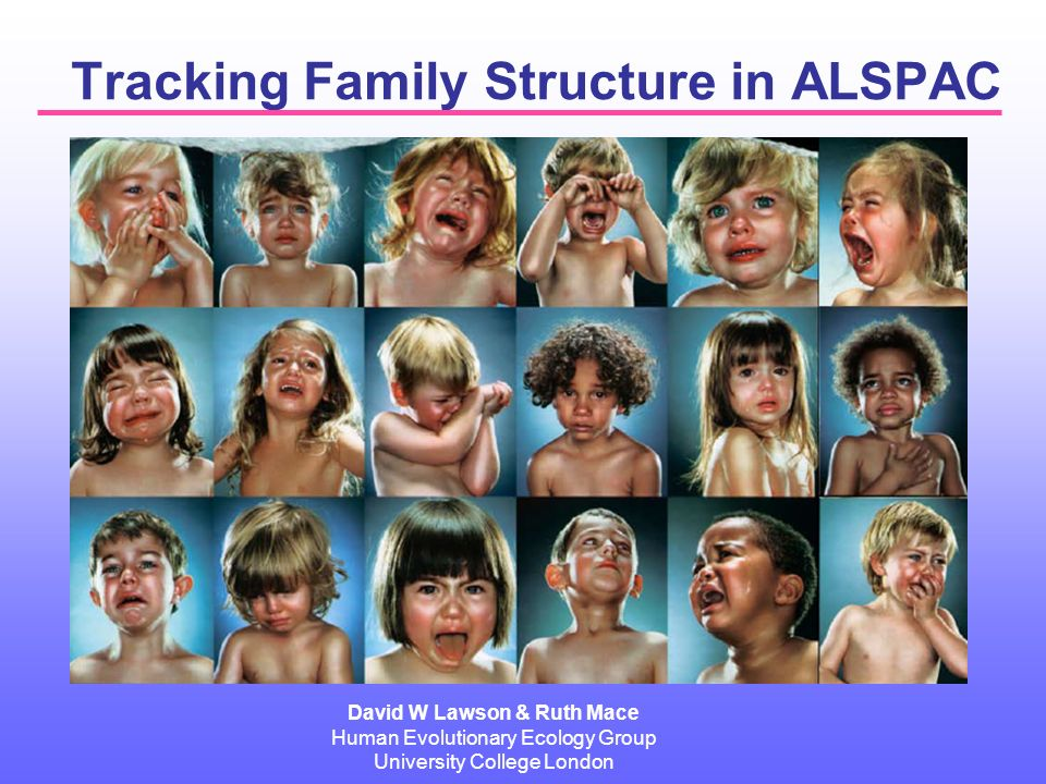 Tracking Family Structure in ALSPAC David W Lawson & Ruth Mace Human Evolutionary Ecology Group University College London