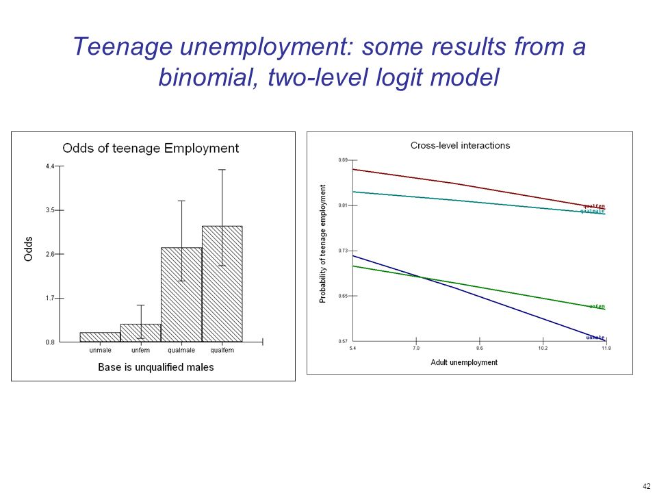 42 Teenage unemployment: some results from a binomial, two-level logit model